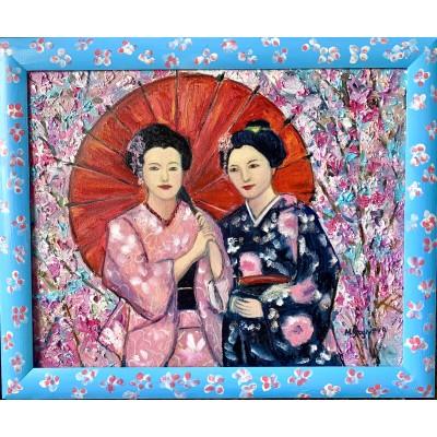 Купить картину маслом японской тематики - две гейши