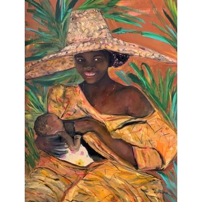 Оригинал картины маслом, акрилом на холсте 60*80 см  , Африканская женщина с младенцем