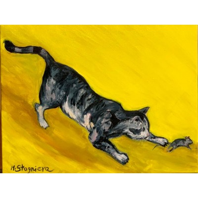 "Оригинальная Картина на холсте маслом "" Game over Jerry "" ,  35*45  см ,оригинальная живопись , интерьерная живопись , картины художника"