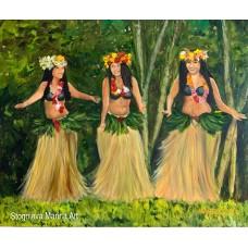 Большая Картина Маслом на холсте «Танцующие  Таитянки», современная Живопись , экзотическая тематика