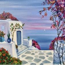 """Оригинал картины маслом на холсте """" Санторини"""" , морской пейзаж , красивая картина"""