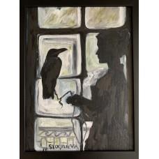 """оригинальная Картина Маслом """"Ворон"""" на холсте Размер : 30*40 см , в раме"""
