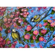 Оригинальная Картина маслом « Весенний цвет» на холсте  *Размер : 60*80 см