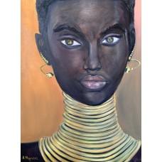 """Оригинальная Картина маслом на холсте 35*45  см """" Африканская женщина в золотых украшениях """",  живопись , Африка ,  портрет африканки маслом"""