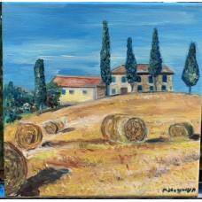 """Картина маслом """" Тосканский пейзаж"""" , холст 20*20 см , пейзаж , тоскана, италия"""