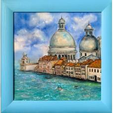 """""""Венеция , гранд канал"""", оригинальная картина маслом на холсте 30*30 см, в голубой раме"""