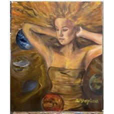 """Оригинальная  Картина маслом на холсте *Размер : 50*60 см """" Солнце"""" , планеты , ведическая  астрология, космос"""