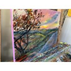 """Оригинальная Картина маслом на холсте """"Закат в Тоскане """", *Размер : 20*25см"""