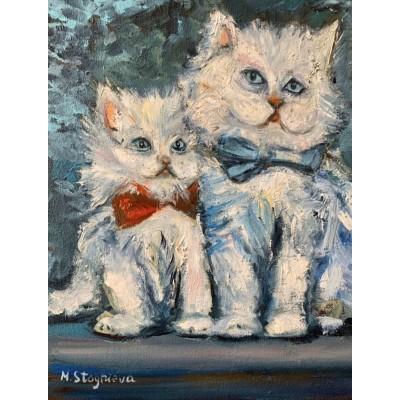 купить картину маслом - картина маслом с двумя котами