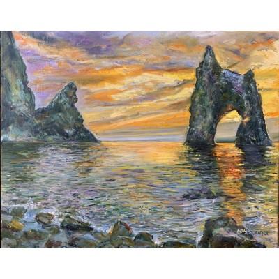 Пейзаж Крыма на закате дня - Карадаг , Золотые ворота . Оригинальная картина маслом на холсте