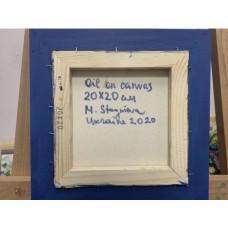 Оригинальная картина маслом , лютики , желтые цветы в расписной баночке , 20*20 см , в   деревянной арт раме , расписанной вручную
