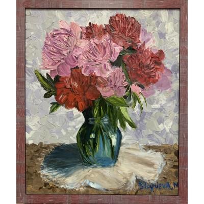 картина маслом  цветы пионы
