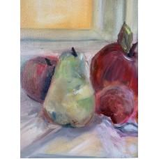 """Картина маслом """" Солнечный Натюрморт """" , цветы маслом , фрукты маслом , яблоки , купить картину , натюрморт , картина в столовую и кухню"""