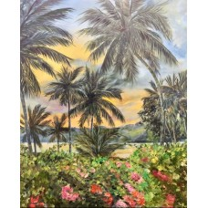 """Большая Картина маслом """" Тропический закат"""" ,  пейзаж , интерьерная картина , пальмы , море , закат"""