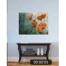 """Оригинальная Картина маслом на холсте """"Маки В поле"""", Размер : 60*80 см"""