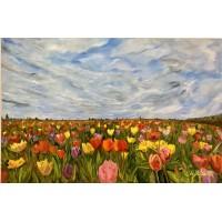 """Картина маслом на холсте """" Море цветов """",   поле тюльпанов , большая интерьерная картина маслом , цветы маслом"""