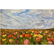 "Картина маслом на холсте "" Море цветов """