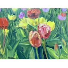 """Оригинальная  Картина маслом на холсте """" Море цветов """",120*80 см,    поле тюльпанов , большая интерьерная картина маслом , цветы маслом"""
