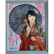 """Картина маслом """" Музыка Весны """" , Японская девушка, японка в национальном костюме"""