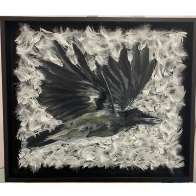 """Картина маслом / арт объект  на холсте """" Белая Ворона"""" ,размер 50*60 см , в раме"""