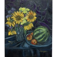 """Картина маслом """" Подсолнухи"""" ,  натюрморт, фрукты маслом , картина на темном фоне, интерьерная картина , современное искусство"""