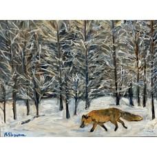 """Картина маслом на холсте """" Зимний Лес """" , размер : 35*45 см , живопись , лиса , зимний пейзаж"""