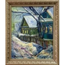 """Оригинальная Картина маслом на Холсте """" Зима в деревне""""  , размер 20 * 25 см , зимний пейзаж , деревенские домики"""