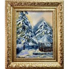 """Картина маслом на холсте """" Снежные Ели """", живопись, зимний пейзаж , размер 20 * 25 см"""
