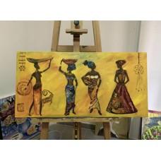 Африканские женщины, оригинальная картина маслом на холсте 40*80 см