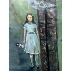 Старый замок, мистический сюжет, девочка с куклой  оригинальная картина маслом 100*120 см