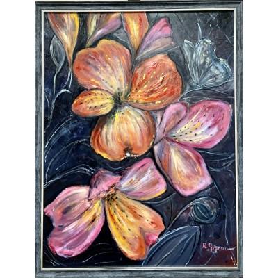 Яркие цветы и бабочка - Оригинальная живопись маслом от художницы Стогниевой Марины
