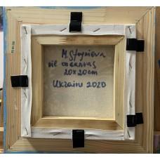"""Картина маслом на холсте """"Снегири"""", размер 20*20 cm, в голубой раме"""