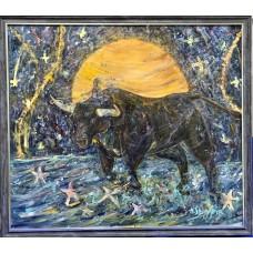 Оригинальная картина маслом ,60*80  см , Девушка скачущая на быке  по звездному пути , тотемная  картина , символ удачи. В Раме