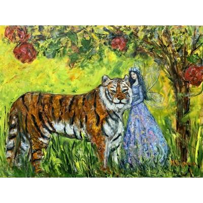 Купить картину со сказочным сюжетом- лесная фея и тигр - доставка по всему миру