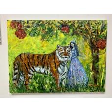 Оригинальная картина маслом ,  Лесная Фея и Тигр , на холсте размером 60 *80 cm