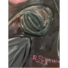 Яркие Цветы и бабочка  , большая интерьерная картина маслом 60* 80 см