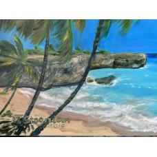Оригинальная картина маслом на холсте « Райский Берег»  , 60*80 см , экзотика,  океан , морской берег