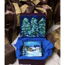 """Оригинальная Картина маслом на холсте """"Зимний  вечер» 15*15см  , в подарочной упаковке , Gift Art Box , украинские традиции и обычаи"""