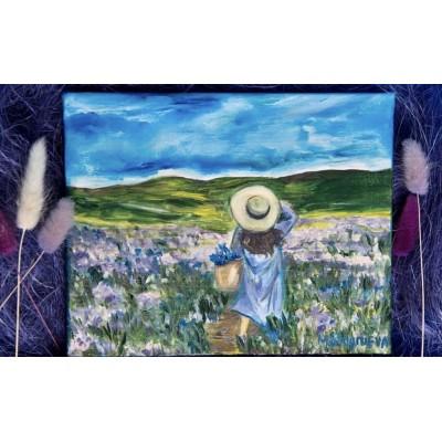 """Картина маслом в подарочной упаковке """"Лавандовое поле"""""""