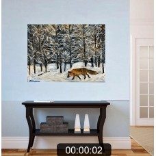"Оригинальная Картина маслом на холсте "" Зимний Лес "" , размер : 35*45 см , живопись , лиса , зимний пейзаж"