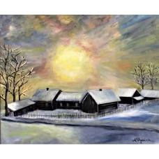 """Картина маслом на холсте """" Рождение Солнца"""" , 50*60 cm ,живопись , интерьерная картина, оригинальная живопись"""