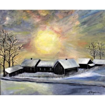 Купить картину маслом с зимним пейзажем