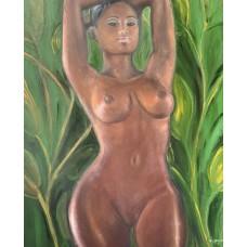Оригинальная картина маслом , 60 * 80 cm , африканская обнаженная девушка в зелёных зарослях , Африка