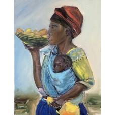 Оригинальная картина маслом, Африканка с младенцем 30 * 40 cm