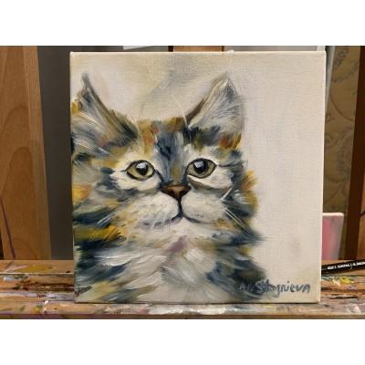оригинальная Картина Маслом « Котенок Лучик»  , размер 15*15см