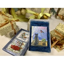 """Оригинальная картина маслом в подарочной упаковке """" Первый Снег """" на холсте  20*25см"""