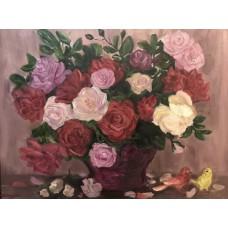 """Картина маслом"""" Розы и канарейки"""""""