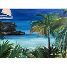 """Оригинальная картина маслом на холсте Морской пейзаж """" Жаркое лето"""" на холсте Размер картины : 60 *80 (см)"""