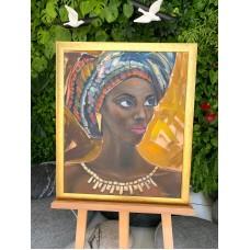 Оригинал ,Портрет африканки на холсте  50*60 см, картина маслом и акрилом  , африканская женщина